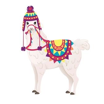 흰색 배경 측면 보기에 격리된 패턴 만화 동물 디자인 플랫 벡터 삽화가 있는 장식용 안장과 모자를 쓴 귀여운 라마.