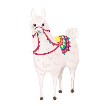 패턴 만화 동물 디자인 평면 벡터 일러스트 레이 션 흰색 배경 전면 보기에 고립 된 장식 안장을 입고 귀여운 라마.