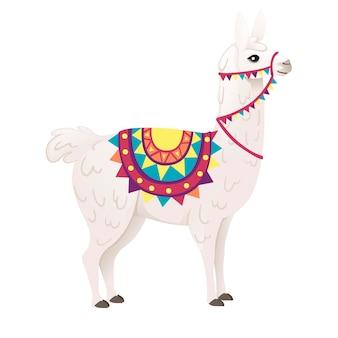 패턴 만화 동물 디자인 평면 벡터 일러스트 레이 션 흰색 배경 측면 보기에 고립 된 장식 안장을 입고 귀여운 라마.