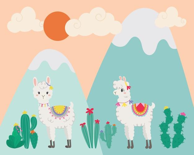 Cute llama in the wild