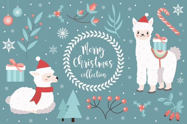 かわいいラマ冬の森セット。帽子をかぶったアルパカのコレクションサンタクロース、雪片、クリスマスツリー
