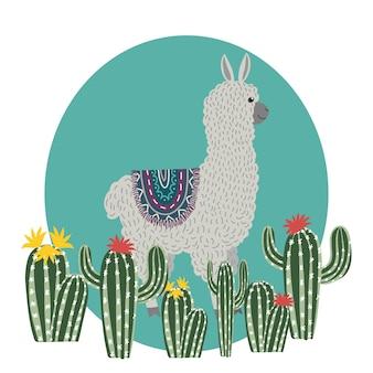 Cute llama with cactuses