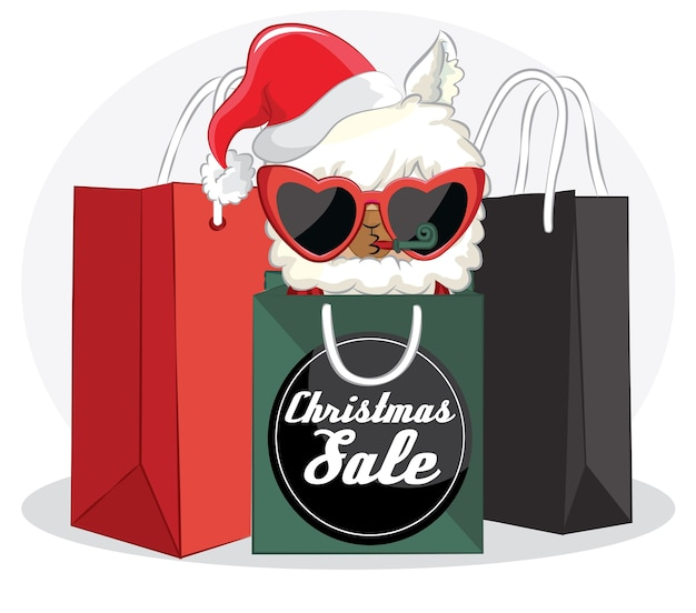 Cute llama with christmas sale banner and shopping bag