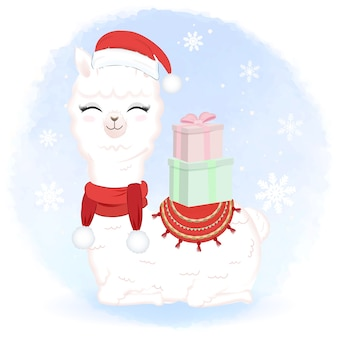 Cute llama with gift box in winter and christmas illustration.