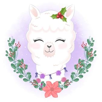 花輪のクリスマスイラストとかわいいラマ