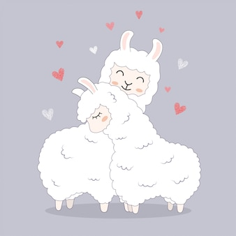 Cute llamas for greeting wedding card invitation.