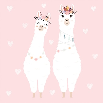 Cute llamas for wedding invitation.