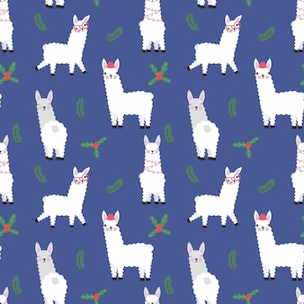 Cute llamas with christmas plants seamless pattern isolated vector illustration funny animals