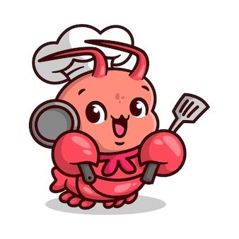 Cute lobster chef is bringing spatula and a frying pan cartoon mascot.