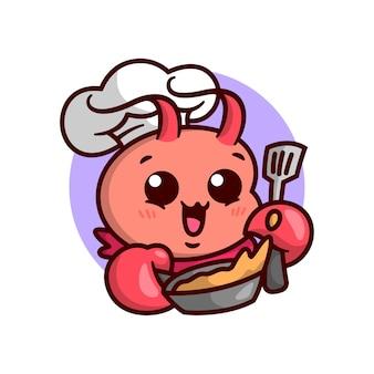 귀여운 랍스터 요리사가 주걱 만화 마스코트로 팬에 음식을 튀기고 있습니다.