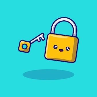 Cute lock and key character mascot vector illustration design