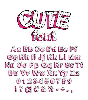 귀여운 롤 인형 서프라이즈 스타일의 글꼴입니다. 어린이 지문 등의 디자인을 위한 완두콩과 분홍색 그림자가 있는 밝은 글자.