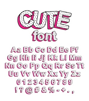 Cute lol doll surprise style font. bright letters with peas and pink shadow for the design of childrens prints and more.