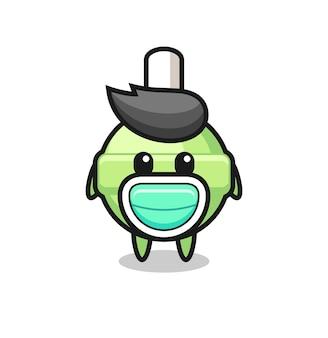 Cute lollipop cartoon wearing a mask , cute style design for t shirt, sticker, logo element