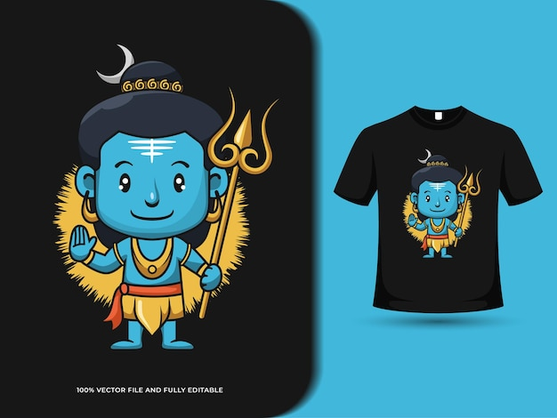 Cute lord shiva with magic wand cartoon illustration with t-shirt design template