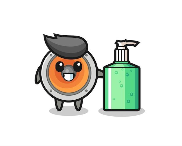 Cute loudspeaker cartoon with hand sanitizer , cute style design for t shirt, sticker, logo element