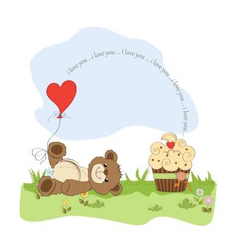 Cute love card with teddy bear