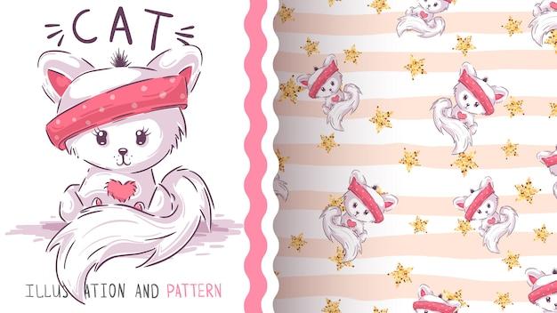 Cute love cat - seamless pattern