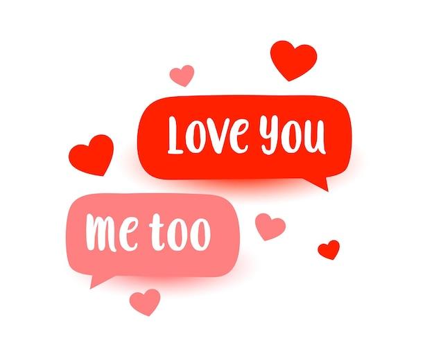 Messaggio di chat amore carino con design cuori