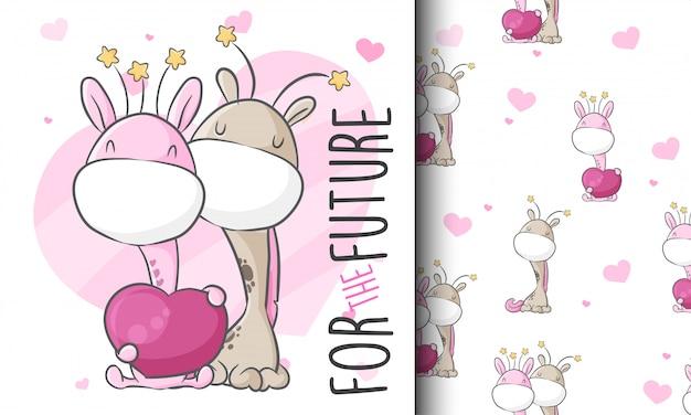 Cute love couple giraffe seamless pattern illustration childish