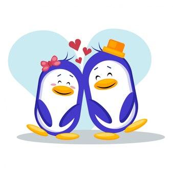 Cute love couple penguin vector illustration