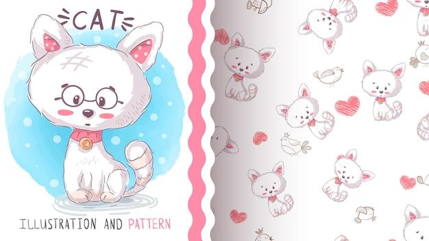 Cute love kitty - seamless pattern