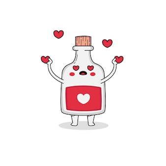 Cute love potion cartoon character spreading love
