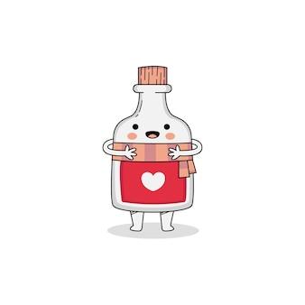 Cute love potion cartoon character wearing scarf