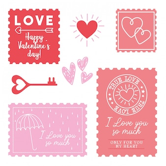 Cute love stamps