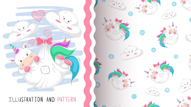 Cute love unicorn seamless pattern