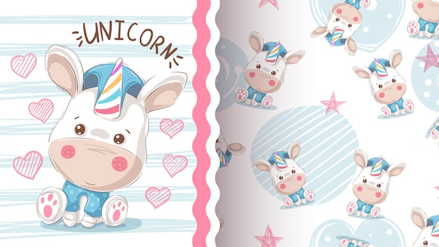 Cute love unicorn - seamless pattern