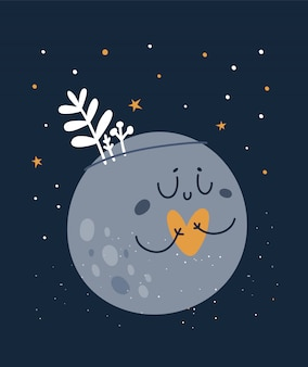 Cute lovely baby moon with heart