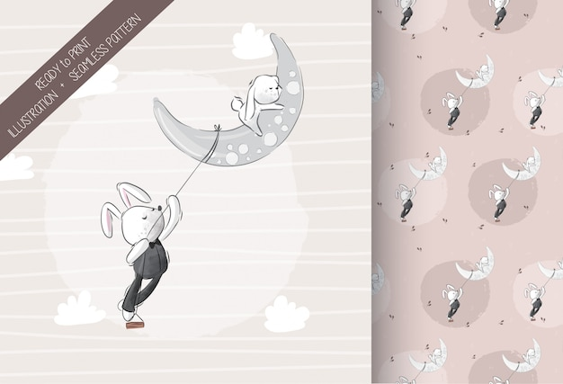 Cute lovely bunny on the moon with seamless pattern