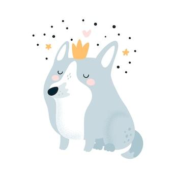 Cute lovely cartoon dog in crown