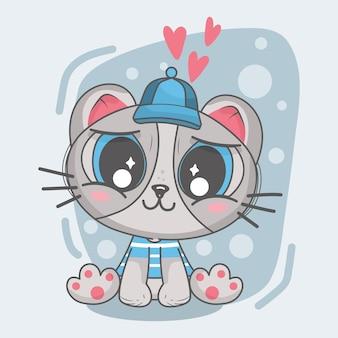 Cute lovely cat cartoon illustration.