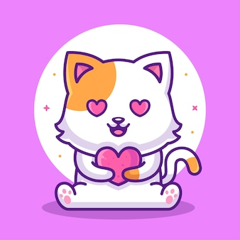 Cute lovely cat holding heart animal pet logo vector icon illustration in flat style