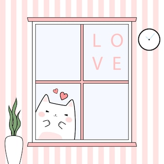 Cute lovely cat kitten behind windows cartoon doodle