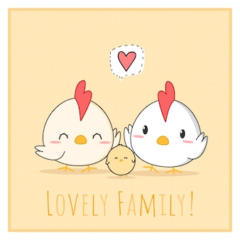 Cute lovely chicken family cartoon doodle square card