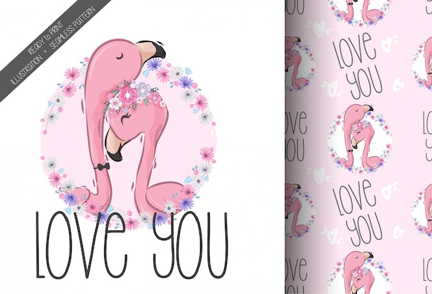 Cute lovely flamingo seamless pattern