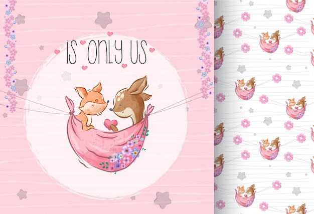 Cute lovely fox and deer with seamless pattern