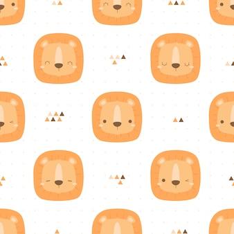 Cute lovely lion head cartoon doodle seamless pattern
