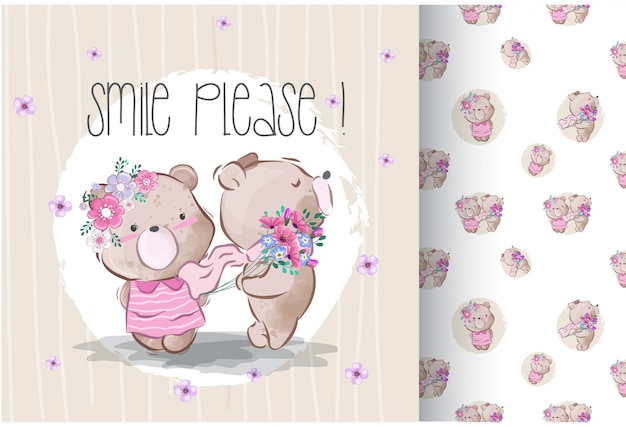 Cute lovely little bear witth seamless pattern