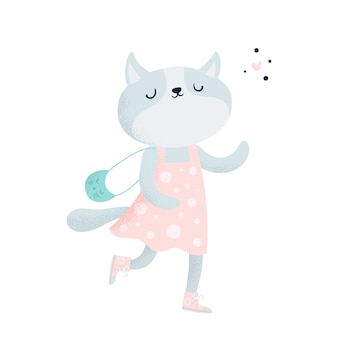 Cute lovely little kitty cat character in dress