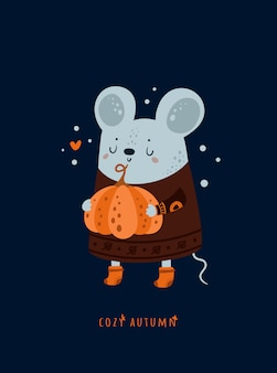 Cute lovely mice mouse with pumpkin. cozy autumn.