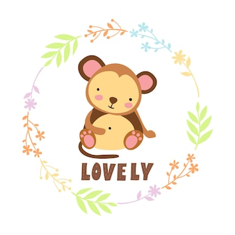Cute lovely monkey with floral wreath