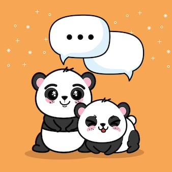 Cute and lovely panda animals cartoon vector illustration graphic design