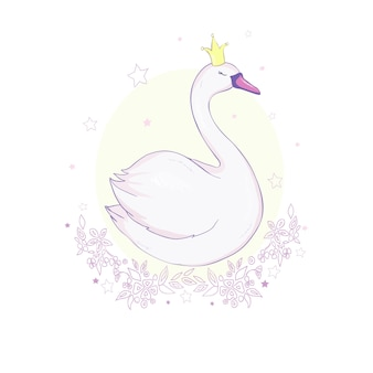 Cute lovely princess swan on pink vector illustration