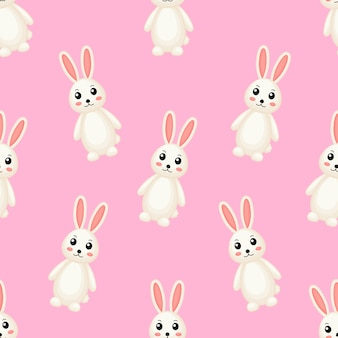 Cute lovely rabbits seamless pattern.