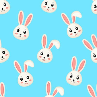 Cute lovely rabbits seamless pattern.
