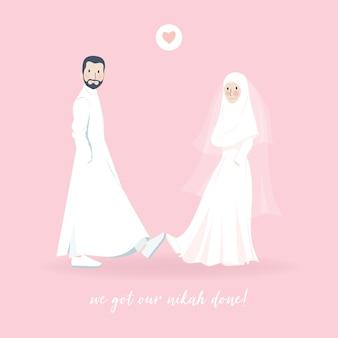 かわいい素敵な若いイスラム教徒の結婚式のカップルは靴のイラストでハイタッチをします